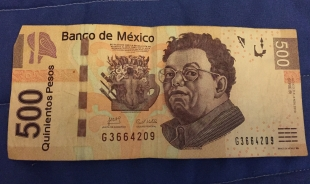 Diego Rivera on one side of the 500 pesos bill